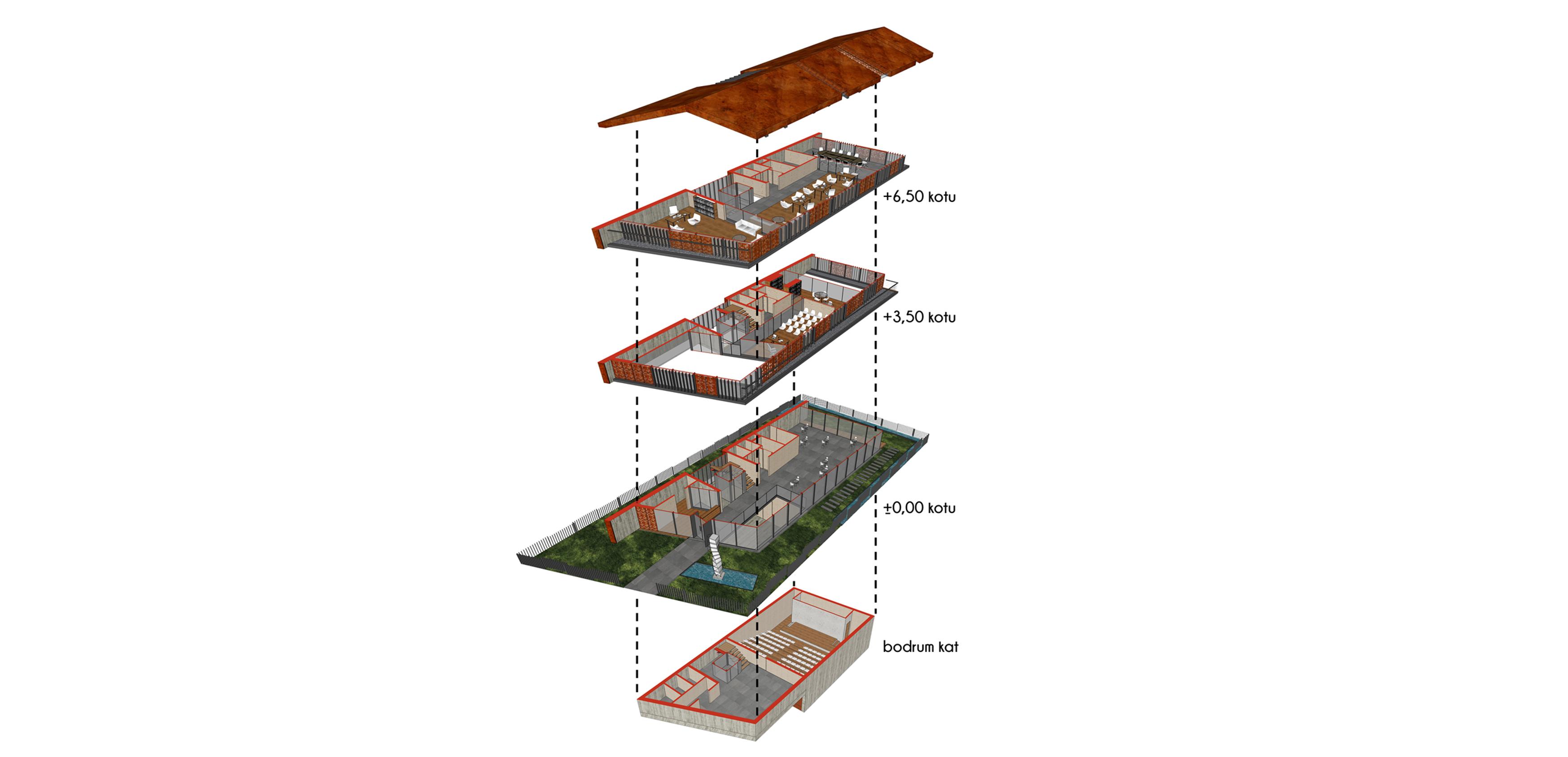 dodofis mimarlık ofisi  denizli mimarlar odası binası aksonometri Chamber Of Architects