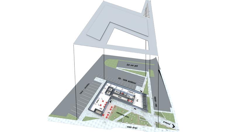 dodofis mimarlık ofisi  otobüs terminali aksonometrik bus terminal