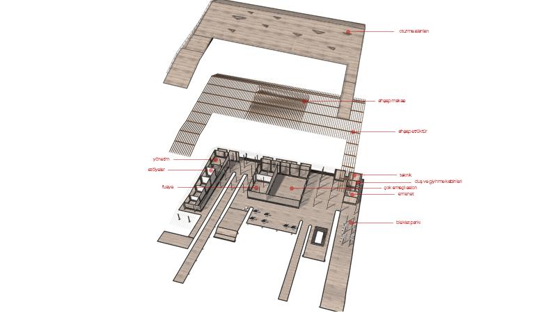 dodofis mimarlık ofisi ytong semt kültür ve sosyal etkinlik evi aksonometrik landscape